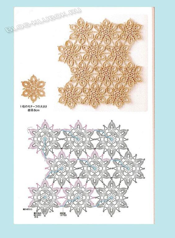 Салфетка из японского журнала Вязание крючком салфетки