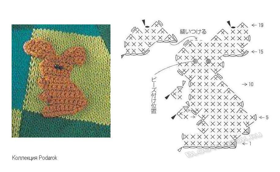 Схема вязанного зайчика