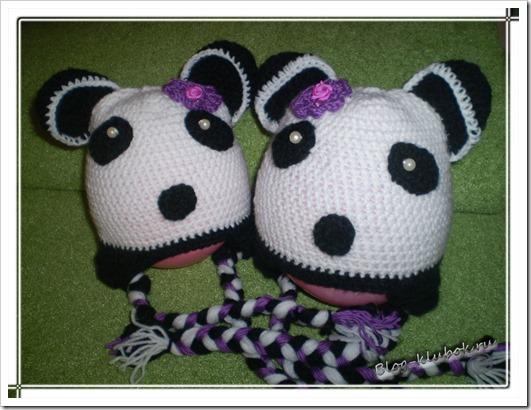Шапочка панда крючком