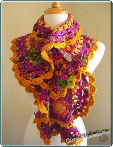 Схема шарфа крючком из мотивов