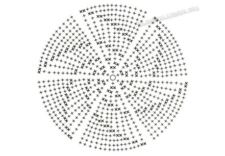 Далее вяжите по схеме.  Cт. б/н 7 рядов, затем повторите 3 раза *1 ряд без прибавок и 1 ряд с прибавкой...