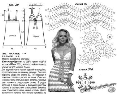 Схема летнего платья крючком
