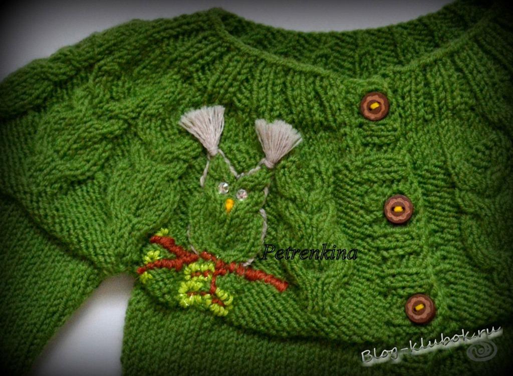 Вязание свитер с совой спицами 71