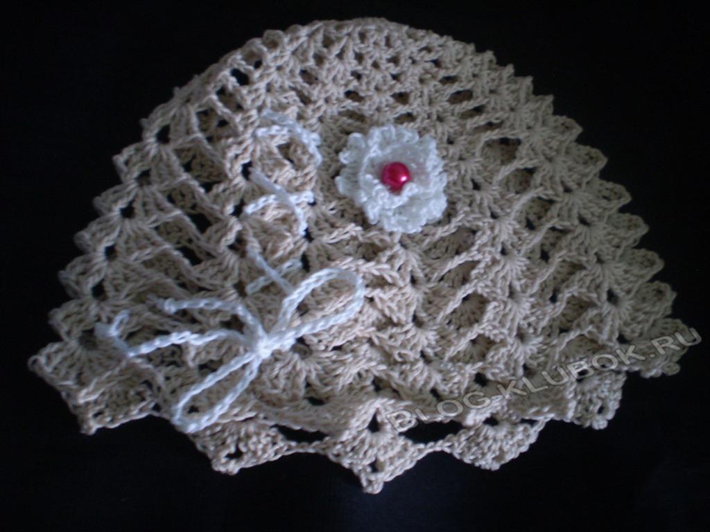 Вязание летней шапочки для девочки крючком схема для начинающих